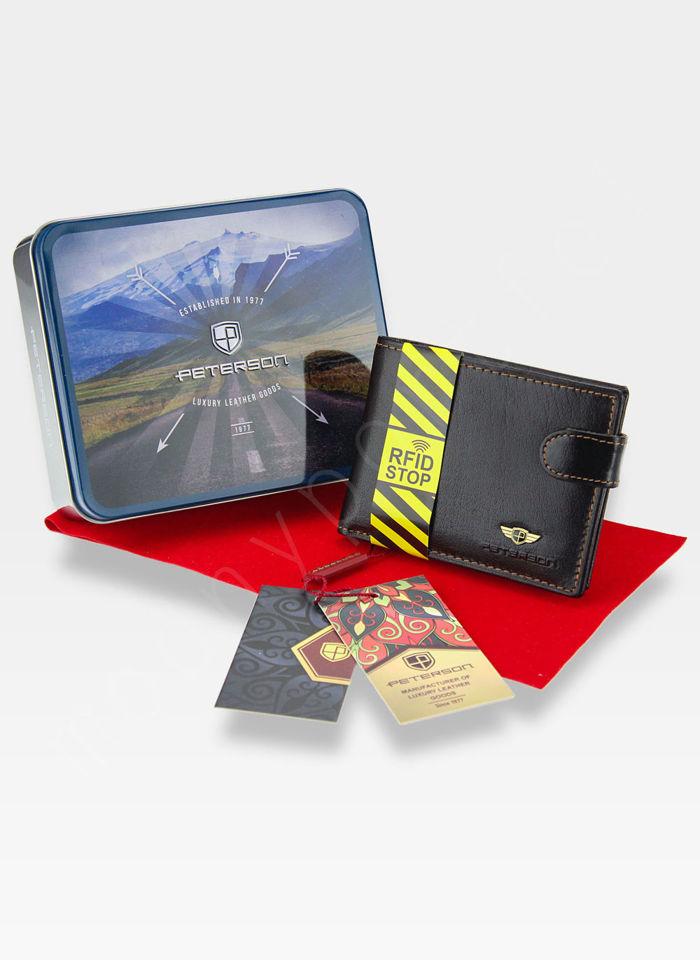 b00d5822deff1 Kompaktowy Portfel Skórzany Peterson 355 Mały i Zgrabny RFID STOP ...