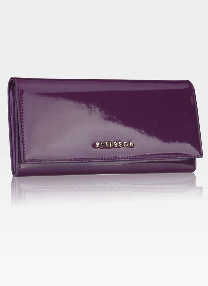 45c105b89084f Portfel Damski Skórzany PETERSON Duży Elegancki Pojemny System RFID  Fioletowy 467