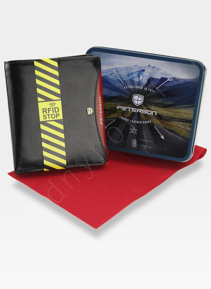 1ad4127551a0e Portfel Męski Peterson Skórzany Czarny Czerwona Łezka System RFID STOP  301.01 301 .01 2-1-1 RFID SGWB 301 .01 2-1-1 RFID SGWB